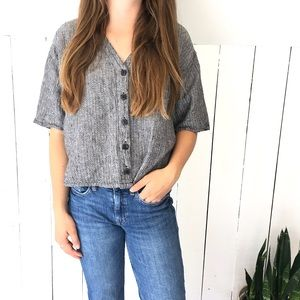 🆕Listing! Flax linen crop top buttondown shirt